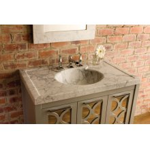 Vintage Washbasin, 36 Inch Honed Carrara Marble / Vintage Washbasin