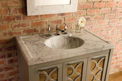 Vintage Washbasin, 36 Inch Honed Carrara Marble / Vintage Washbasin