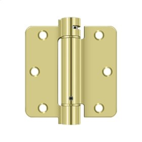 "3 1/2""x 3 1/2""x 1/4"" Spring Hinge - Polished Brass"
