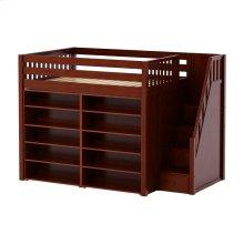 High Loft w/ Staircase & 2 x 5 Shelf Bookcases : Full : Chestnut : Slat
