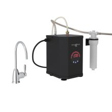 Polished Chrome Perrin & Rowe Holborn C-Spout Hot Water Faucet, Tank And Filter Kit with Contemporary Metal Lever
