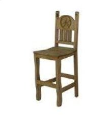 "24"" Barstool W/Wood Seat and Star"