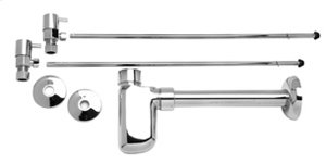 """Lavatory Supply Kit w/ Decorative Trap - Angle - Contemporary Lever Handle - 1/2"""" Compression (5/8"""" O.D.) Inlet x 3/8"""" O.D. Compression Outlet - Polished Chrome"""