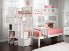 Westbrook Staircase Bunk Bed Twin over Full in White
