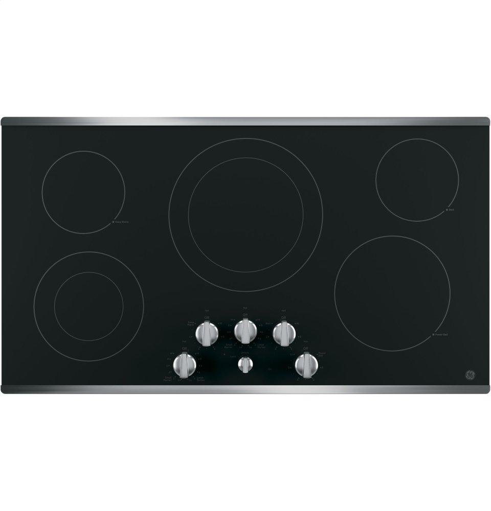 """GE(R) 36"""" Built-In Knob Control Electric Cooktop  STAINLESS STEEL ON BLACK"""