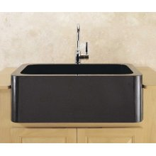 "Polished & Honed Front Farmhouse Sinks 33"" Width / Black Granite"