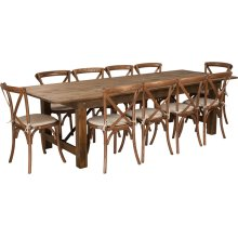 9' x 40'' Antique Rustic Folding Farm Table Set with 10 Cross Back Chairs and Cushions
