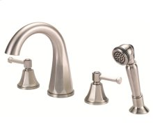 Brushed Nickel Roman Tub High-Rise Spout Lever Handle Faucet with Soft Touch Personal Shower