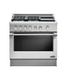 "36"" Professional, 4 Burner, Dual Fuel Range W/griddle"