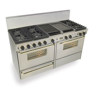 "Five Star60"" Dual Fuel, Convect, Self Clean, Sealed Burners, Stainless Steel with Br"