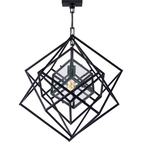 Visual Comfort KW5020AI-CG Kelly Wearstler Cubist 22 inch Aged Iron Pendant Ceiling Light, Kelly Wearstler, Small, Chandelier, Clear Glass