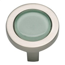 Spa Green Round Knob 1 1/4 Inch - Brushed Nickel
