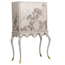 HAND PAINTED CHINOISERIE BAR C ABINET IN BEIGE LACQUER WITH G OLD LEAF ACCENTS