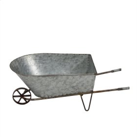 Galvanized Metal Wheelbarrow