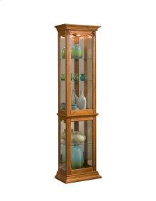 Gallery Style 4 Shelf Curio Cabinet in Golden Oak Brown