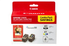 """Canon PG-40/CL-41 Combo Ink Pack with Photo Paper Glossy (50 Sheets, 4""""x6"""") PG-40 CL-41 with GP502"""