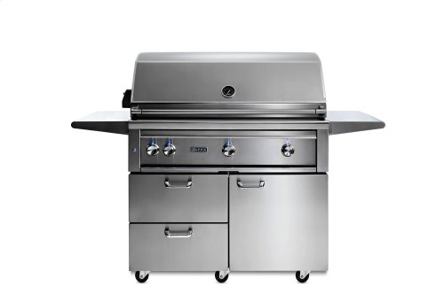 """42"""" Lynx Professional Freestanding Grill with 1 Trident and 2 Ceramic Burners and Rotisserie, NG"""