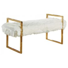 "Chloe White Faux Fur Bench - 43"" W x 17.5"" D x 21"" H"