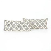 "12x28"" Size Black & Cream Diamond Pillow, Set of 2"