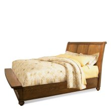 Queen Sleigh Storage bed & Nightstand Heartland Medium Oak finish