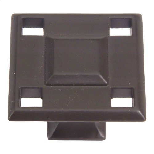 Modern Craftsman Square Knob 1 5/16 Inch - Aged Bronze