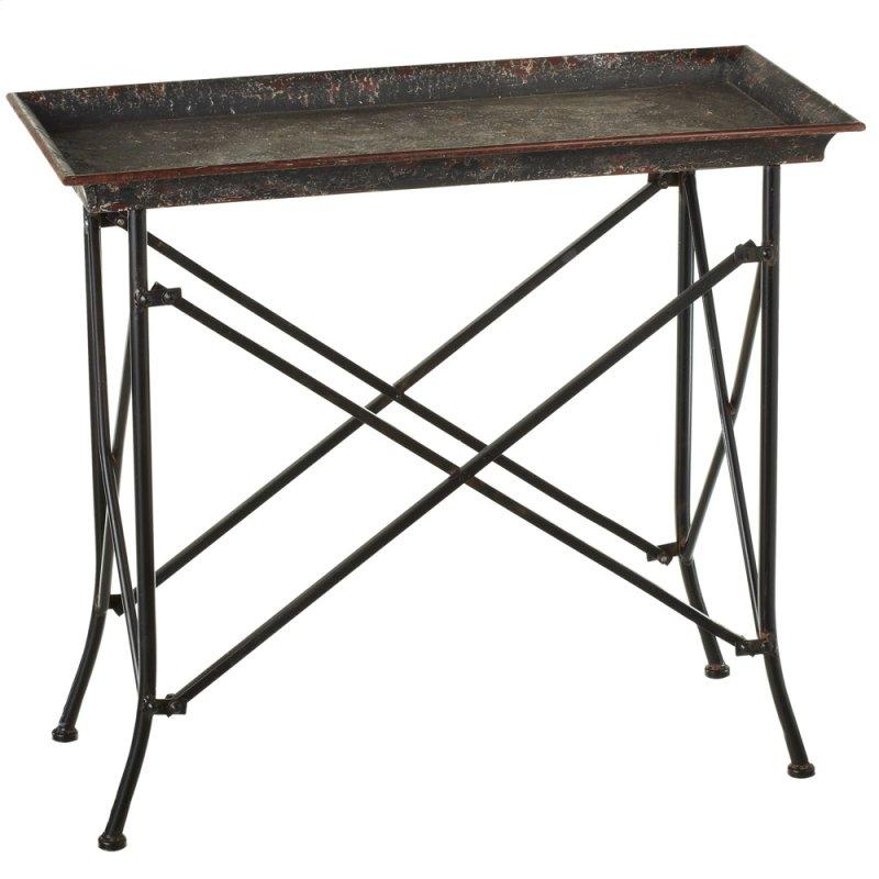 Distressed Black Side Table Hidden
