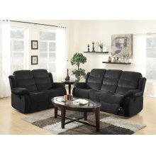 BLACK SHORT PLUSH RECLINING SOFA AND LOVE SEAT