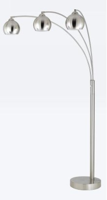 60W x 3 metal arc floor lamp with metal shades and 3 way pole switch