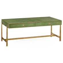 Green Faux Shagreen Coffee Table with Gilded Base