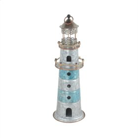 Silver/teal Metal Lighthouse