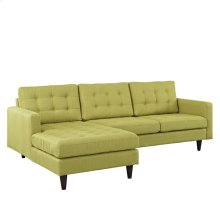 Empress Left-Facing Upholstered Fabric Sectional Sofa in Wheatgrass
