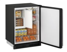 "24"" Refrigerator/Freezer Black Solid Field Reversible"