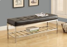 """BENCH - 48""""L / BLACK LEATHER-LOOK / CHROME METAL"""