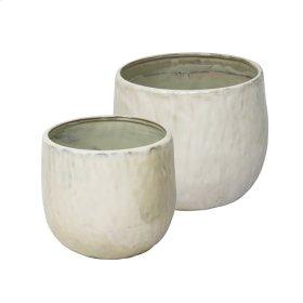 "S/2 Ceramic Planters 8""/6""d, Pearl"