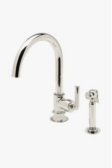 Henry One Hole Gooseneck Kitchen Faucet, Metal Lever Handle and Spray STYLE: HNKM10