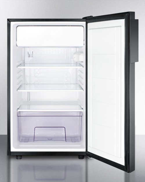 """ADA Compliant 20"""" Wide Freestanding Refrigerator-freezer With A Lock and Black Exterior"""