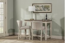 Clarion 3-piece Counter Height Side Dining Set With Wing Arm Stools - Distressed Gray Top With Sea W