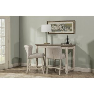 Hillsdale FurnitureClarion 3-piece Counter Height Side Dining Set With Wing Arm Stools - Distressed Gray Top With Sea W
