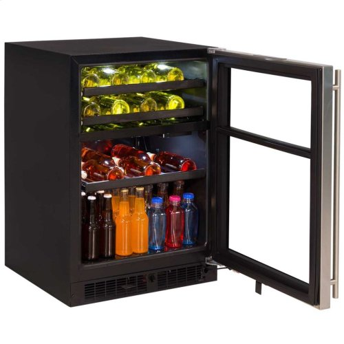 "Marvel 24"" Dual Zone Wine and Beverage Center - Stainless Steel-Framed Glass Door - Left Hinge"