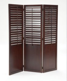 Plantation Shutter Folding Screen / Dark Cherry