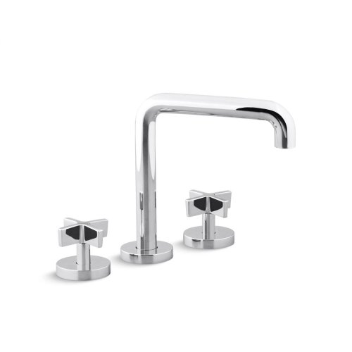 Deck-Mount Bath Faucet, Tall-Spout, Cross Handles - Nickel Silver