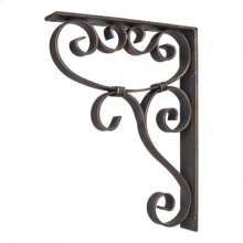 "1-7/8"" x 10"" x 13-1/2"" Metal (Iron) Scrolled Bar Bracket with Knot Detail. Finish: Dark Brushed Antique Copper. Mounting Screws (#8x3/4"") Included. Not for outdoor use."
