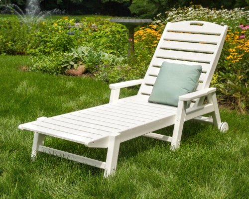 Slate Grey Nautical Chaise with Arms & Wheels