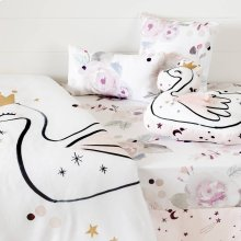 6-Piece Baby Bedding Set: bed skirt, sheet and 3 decorative pillows Watercolor Floral - White and Pink