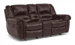 Crosstown Leather Power Reclining Loveseat with Console Product Image