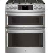"""GE Cafe™ Series 30"""" Slide-In Front Control Dual-Fuel Double Oven with Convection Range Product Image"""