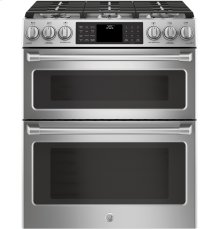 "GE Cafe™ Series 30"" Slide-In Front Control Dual-Fuel Double Oven with Convection Range"