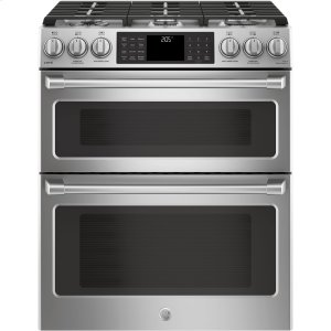 "GE Cafe30"" Slide-In Front Control Dual-Fuel Double Oven with Convection Range"