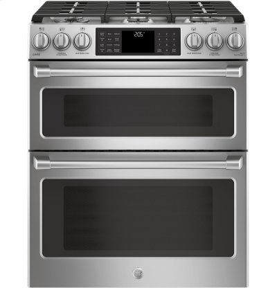 "GE Cafe™ Series 30"" Slide-In Front Control Dual-Fuel Double Oven with Convection Range Product Image"