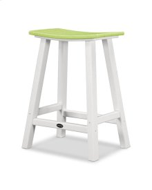 "White & Lime Contempo 24"" Saddle Bar Stool"